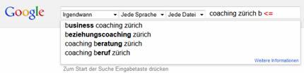 Google Suche ergänzen mit weiteren Angaben