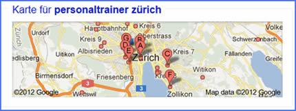Anzeige Google Maps bei Suche zu Personaltrainer Zürich