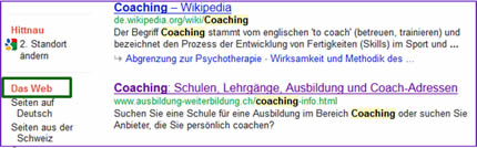 Die Grundeinstellung bei Google ist auf Suche «Das Web» eingestellt