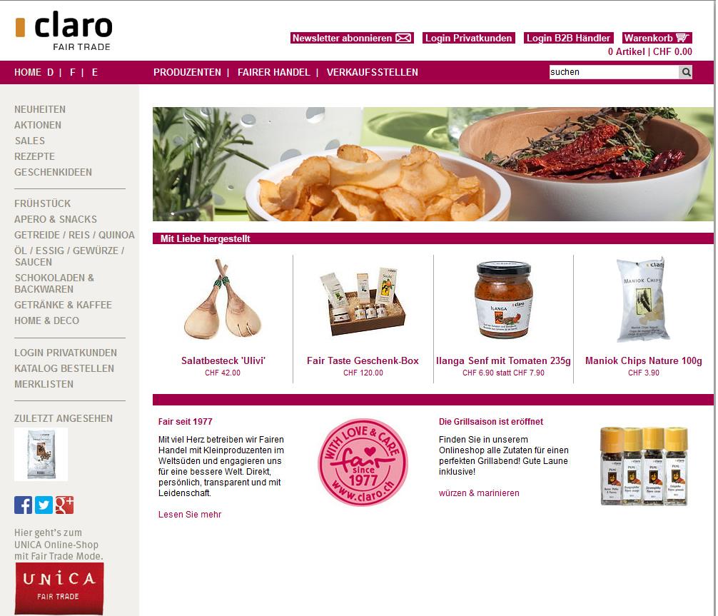 Der Claro Fair Trade Produkte Onlineshop