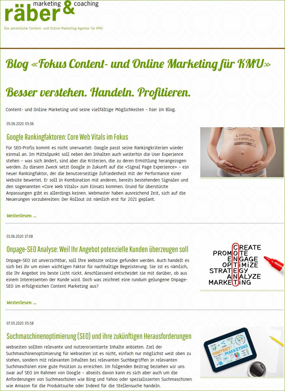 Online Marketing heute: Blog für KMU Marketing